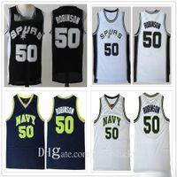 Vintage Mann David 50 Robinson-Trikots Schwarz Weiß Farbe Basketball College Hemden Billig Großhandel Schnelles Verschiffen Atmungsaktive Größe S-3XL