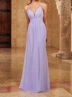 Lilac Bridesmaid Dress Chiffon Spaghetti Floor Length Wedding Party Dresses