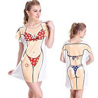 Moda Yaz Çiçek Seksi Elbise Bayan T Shirt Mini Mayo Baskı Pembe Bikini Baskılı Gömlek Plaj Feminina Komik Pijama Giyim
