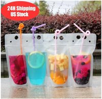 US Stock Disposable 24H ship Clear Drinks Pouches Bags Plastic Drinking Bag with Straw Reclosable Heat-Proof Juice Coffee Liquid Bags