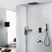 Robinets de douche de la salle de bain de qualité Set 12 pouces plafond carrée de douche de douche de bain de bain de pluie baignoire de pluie Thermostatique 3 façons Dutresser Valve laiton