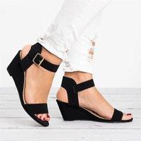 Сандалии женские кожаные клинки обувь летом повседневная пляж Rome Vintage тапочки дамы гладиатор открытый носок платформы 2021 # T2Q
