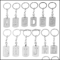 Keychains Fashion Aessoriesdiy Stainless Steel A-Z Letters Initials Keychain Charm Men Women Couple Gift Jewelry Car Key Ring Drop Delivery
