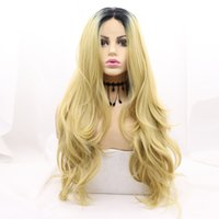 2021 new fashionable pre-lace high-end chemical fiber headset leisure black gold long curly wig set European and American temperament lady's