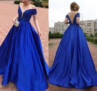 Royal Blue Satin A Line Evening Dresses Sexy Off The Shoulder Backless Crystal Beaded Prom Dress Formal Party Gowns