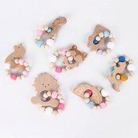 Baby Beißring Schnuller Infant Fütterung Silikon Beißringe Cartoon Kinder Zubehör Spielzeug Natürliche Holz B4652
