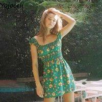 Yojoceli Vintage fitness floral print short mini dress Summer casual cool square neck Beach sexy shirred women 210609