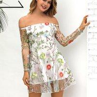 Bayan Straplez Seksi Çiçek Nakış Şeffaf Dantel Elbiseler Kadın Yaz Backless Rahat Akşam Parti Elbiseler