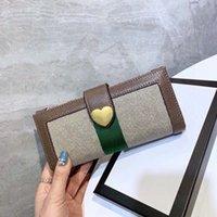 도매 2021 잘 알려진 지갑, 고품질 동전 지갑, 카드 케이스, 긴 스타일, 사랑 하트 지갑, 클러치 백, 상자 선물 포장