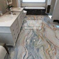 Pvc auto-adesivo impermeável papel de parede 3d piso de mármore telhas murais banheiro antiderrapante papel parede 3d revestimento decoração de casa adesivos q0723