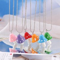 Pendant Necklaces Fashion Resin Cartoon Imitation Mushroom Necklace For Women Men Colorful Simple Cute Charm Jewelry Gift