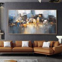 그림 홈 장식 도시 건물 포스터 인쇄 풍경 벽 아트 거실에 대 한 사진 캔버스에 큰 크기 추상 유화