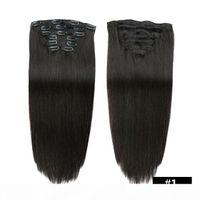 Dicker Vollkopf 70g 100G Set Gerade Clip in auf menschlichen Haarverlängerungen Günstige Remy Peruanische Haarwohner Clip Ins 20 Farben erhältlich