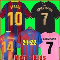 Camisa de futebol de camisa de futebol Barcelona MESSI BARCA 20 21 22 ANSU FATI 2021 2022 GRIEZMANN F.DE JONG COUNTINHO DEST camisetas de homem + crianças conjuntos