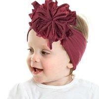 Accesorios para el cabello Baby Nylon Hairbands Paño de piel Flor Elástica Color Sólido DIEADA DIEADA Frontera Frontera para niñas 0-7y