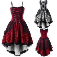 Casual Dresses Lace Up Irregular Hem Gothic Dress Womens Retro Style Stiching Sleeveless Princess Party Vestidos Mujer Women