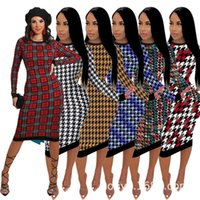 Casual Dresses Autumn And Winter Style Dress Long-sleeved Round Collar Irregular Printing Ms Characteristics