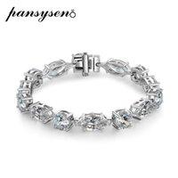 Pansysen 100% 925 Sterling Silver Criado Moissanite Diamante Gemstone Charms Pulseira de Casamento Engajamento Fine Jóias Todo