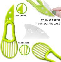 3 In 1 Avocado Slicer Multi-function Fruit Cutter Tools Knife Plastic Peeler Separator Shea Corer Butter Gadgets Kitchen Tool LLE7492