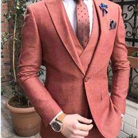 Yeni Varış 2021 Düğün Damat Smokin Takımları Slim Fit Erkekler Için Fit Damat Groomsmen Suit Örgün İş Parti Blazer 3 Parça