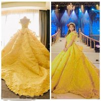 Gorgeoues Bright Yellow Quinceanera Dresses Capped Sleeves with 3D Floral Applique Sweep Train Custom Made Sweet 16 Party Ball Gown