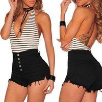 Shorts femininos verão cintura alta moda sexy trecho de trecho de peito casual calça jeans branco / preto correspondência de cor