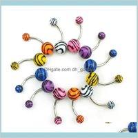 Çan JewelryMix Satış Belly Button 316L Paslanmaz Çelik Çift Akrilik Gökkuşağı Topu Göbek Yüzükler Vücut Takı Toptan Bırak Teslimat 2021