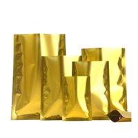Saklama Torbaları 100 adet / grup Açık Üst Isı Mühür Altın Alüminyum Folyo Çanta Fındık Şeker Düz Mylar Örnek Cepler Vakum Torbalar