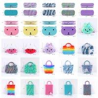 Fidget Toys Bag Cartoon Candy Color Pencil Case Push Bubble Handbag Sensory Squishy Stress Reliever Autism Needs Anti-stress Rainbow Toy For Children Adult-TOPN915