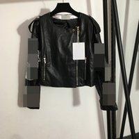 916 2021 Milan Pist Marka Aynı Stil Sonbahar Kadın Ceket PU Ekip Boyun Uzun Kollu Yüksek Kalite Meiyi Siyah Ceket Moda Bayan Giysileri Meiyi