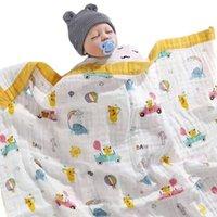 Одеяла Yovepii 100% хлопок марля 6 слой нить нить полотенце одеяло младенцы 110 * 110см одеяла мультфильм мальчики девушки душевые спать