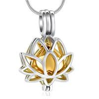 Zubehör Gold Blumen Öffnbare Urne Halskette Frauen Lotus Anhänger 07RH59