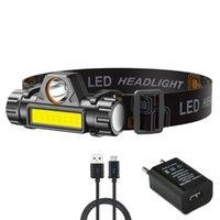 المصابيح الأمامية USB القابلة لإعادة الشحن كشافات المحمولة XPE + COB 2 أوضاع قوية مزدوجة ضوء مدمج في بطارية التخييم في الهواء الطلق للماء