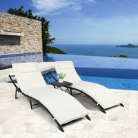 WACO Beach Yard Pool Recliner Sets, 3PCS Folding Adjustable Chaise Lounge Chairs and Table, All Weather for Outdoor Indoor, PE Rattan Iron, - Beige White Mat