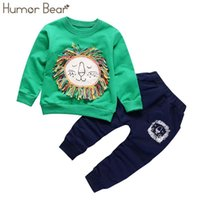 유머 곰 새로운 크리스마스 아기 소녀 옷 세트 소년 정장 소년 짜다 만화 디자인 티셔츠 + 바지 1-5 년 210430