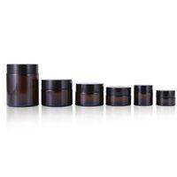 Toptan amber boş cam kavanoz siyah kapak makyaj şişe ile kozmetik ambalaj el krem kapları yüz maskesi kavanozları