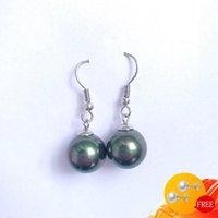 Dangle & Chandelier Fashion Earrings 925 Silver Jewelry Round Shape Black Pearl Gemstone Drop Earring For Women Wedding Engagement Party Acc