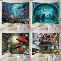 태피스트리 우주 버섯 태피스 트리 히피 동화 별이 빛나는 하늘 숲 배경 벽 교수형 천으로 기숙사 침실 홈 장식