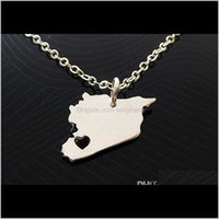 & Pendants Jewelry Drop Delivery 2021 10Pcs Asian Country Map Necklace Charm Pendant Syrians Pride I Heart Love Capital Of Syria Damascus Cit