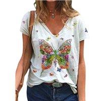 Women's T-Shirt 3XL Summer Butterfly Women Cotton T Shirt Short Sleeve V-Neck Fashion Female Street Casual Loose Oversize Ladies Tops Plus S