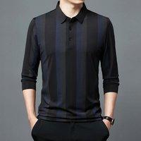 Men's T-Shirts Autumn Quick Drying Business Casual T-shirt Long Sleeve Shirt Fashion Stripe Top
