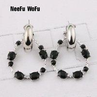 NeeFu WoFu Stone Water Drop Earrings Zine Alloy Brand Rhinestone Big Earring Large Brinco Ear Christmas Accessories Oorbellen Dangle & Chand