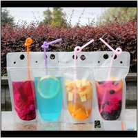 Water Bottles Drinkware Kitchen Dining Bar Home Garden 100Pcs Clear Drink Pouches Bags Frosted Zipper Standup Plastic Drinking Bag St
