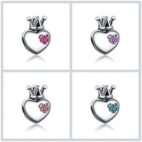 Fits Pandora Bracelets 30pc Crown Crystal Charms Beads Silver Charms Bead For Women Diy European Necklace Jewelry