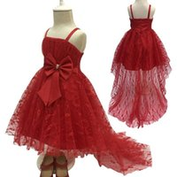 Girl's Dresses Flower Girls Children Fashion Suspender Lace With Bow And Train Kids Birthday Wedding Dress