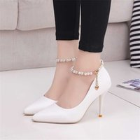 Femmes blanches Chaussures de mariage Crystal Preal Breakle Strap Bridal Femme Robe Sey Pompes Sweet Party 210610