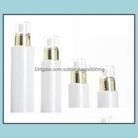 Bottles Packing Office School Business & Industrial300Pcs 30 50G Jar 20 30 100Ml White Glass Pump Lotion Spray Bottle Gold Collear Lids Drop