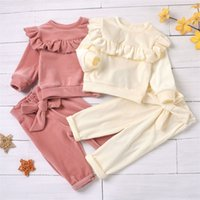 Winter Warm Toddler Baby Girls Smooth Velvet Outfits Sets Round Neck Ruffle Trim Top Elastic Waist Bowknot Pant 2pcs Kid Clothes 2078 Z2