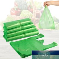 100pcs Green Plastic Bag Supermarket Grocery Gift Shopping Disposable With Handle Vest Kitchen Storage Clean Garbage Wrap Factory price expert design Quality