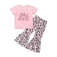 Kids Clothing Sets Girls Outfits Baby Clothes Children Suit Summer Short Sleeve Top T-shirts Leopard Print Flared Trousers Two-Piece B7078